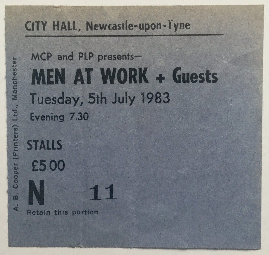 Men at Work Original Used Concert Ticket City Hall Newcastle 5th July 1983