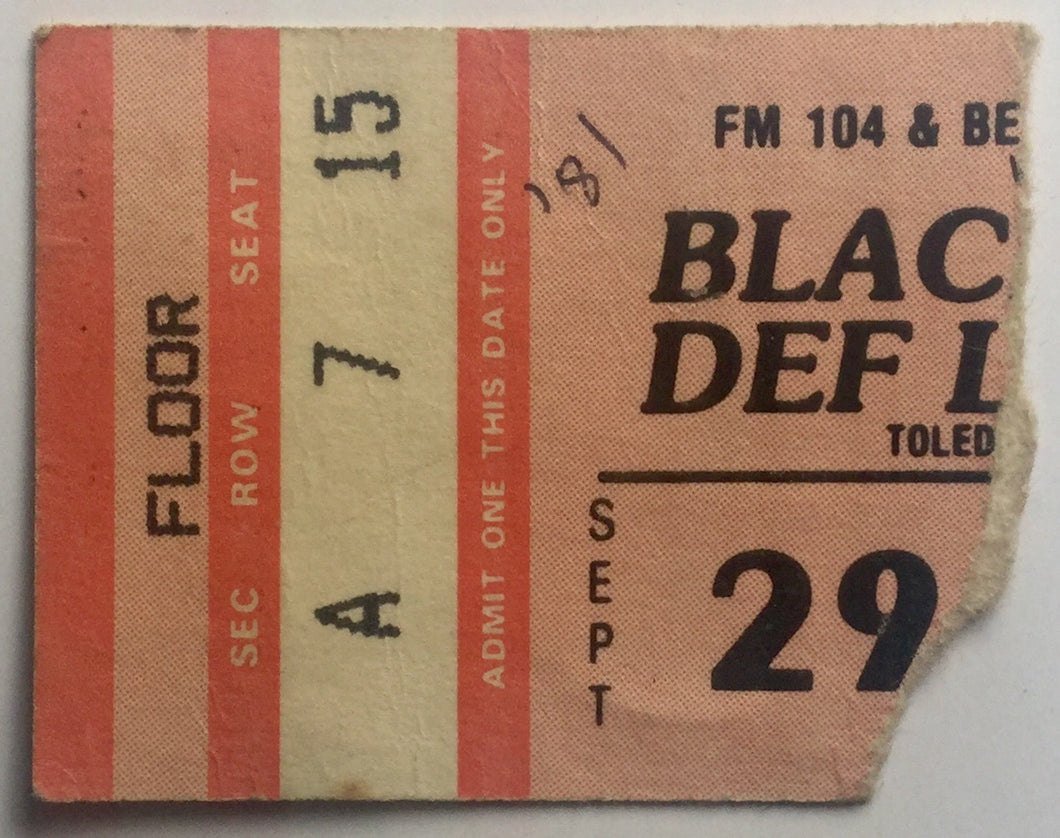 Def Leppard Blackfoot Original Used Concert Ticket Toledo Sports Arena 29th Sept 1981