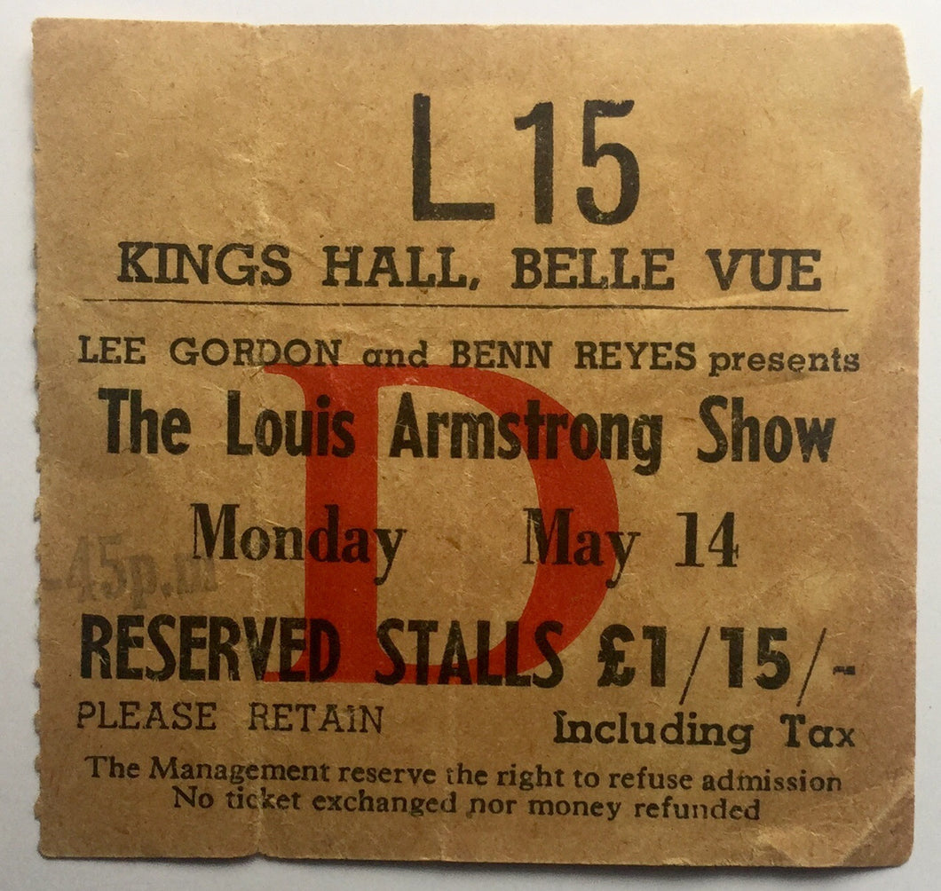 Louis Armstrong Original Used Concert Ticket Kings Hall Belle Vue Manchester 14th May 1962