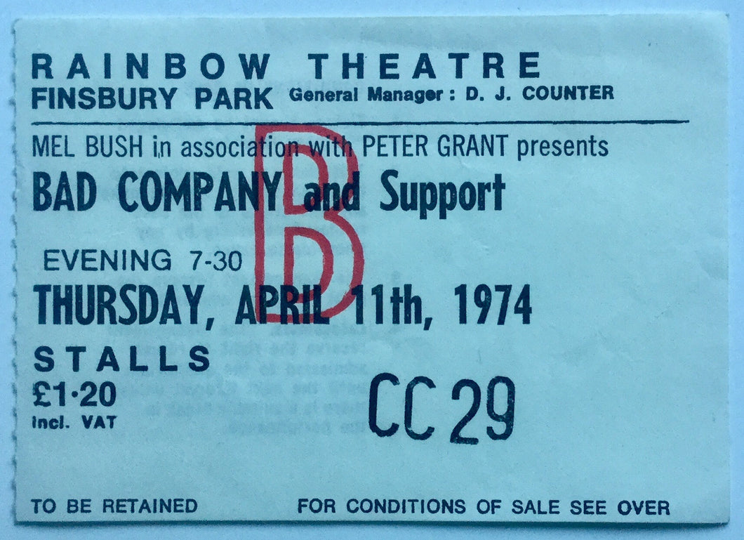 Bad Company Original Used Concert Ticket Rainbow Theatre London 11th Apr 1974