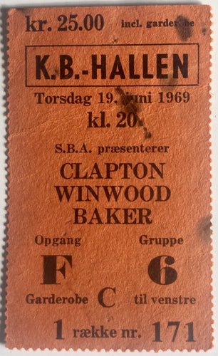 Blind Faith Eric Clapton Original Used Concert Ticket KB Hallen Copenhagen 19th Jun 1969