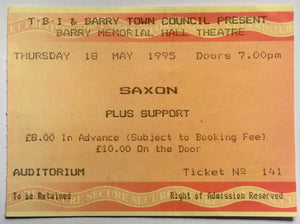 Saxon Original Used Concert Ticket Memorial Hall Theatre Barry 18th May 1995