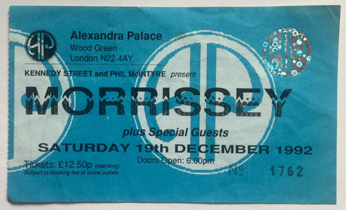 Morrissey Original Used Concert Ticket Alexandra Palace London 19th Dec 1992