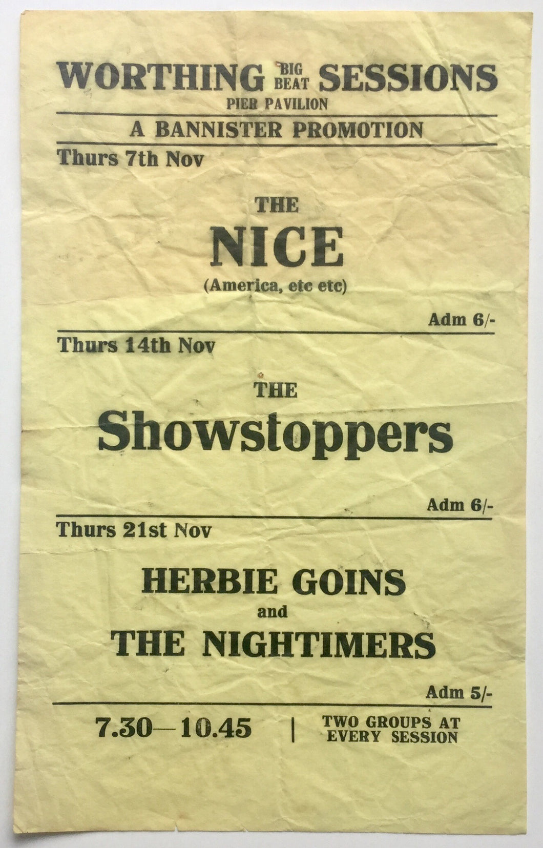 Nice Herbie Goins Showstoppers Original Concert Handbill Flyer Pier Pavilion Worthing 1968