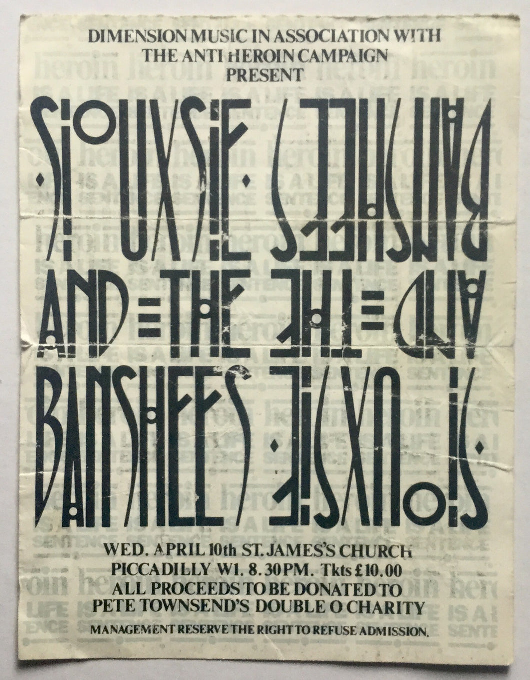 Siouxsie & The Banshees Original Used Concert Ticket St. James Church London 10th Apr 1985