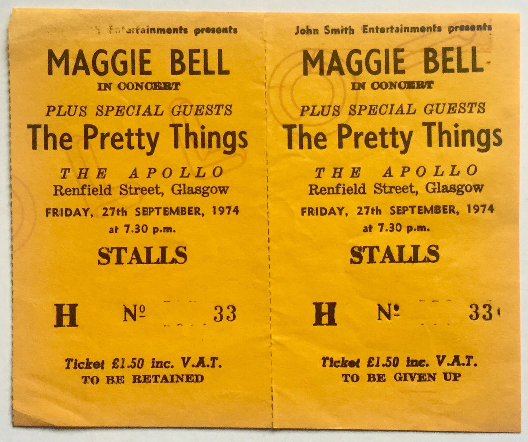 Maggie Bell The Pretty Things Original Unused Concert Ticket Apollo Theatre Glasgow 27th Sept 1974