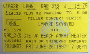 Lynyrd Skynyrd Original Used Concert Ticket Riverfest Beach Amphitheater Little Rock 20th June 1997