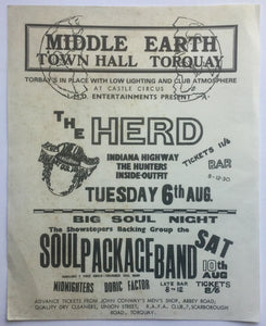 Herd Soul Package Band Original Concert Handbill Flyer Town Hall Torquay 6th Aug 1968