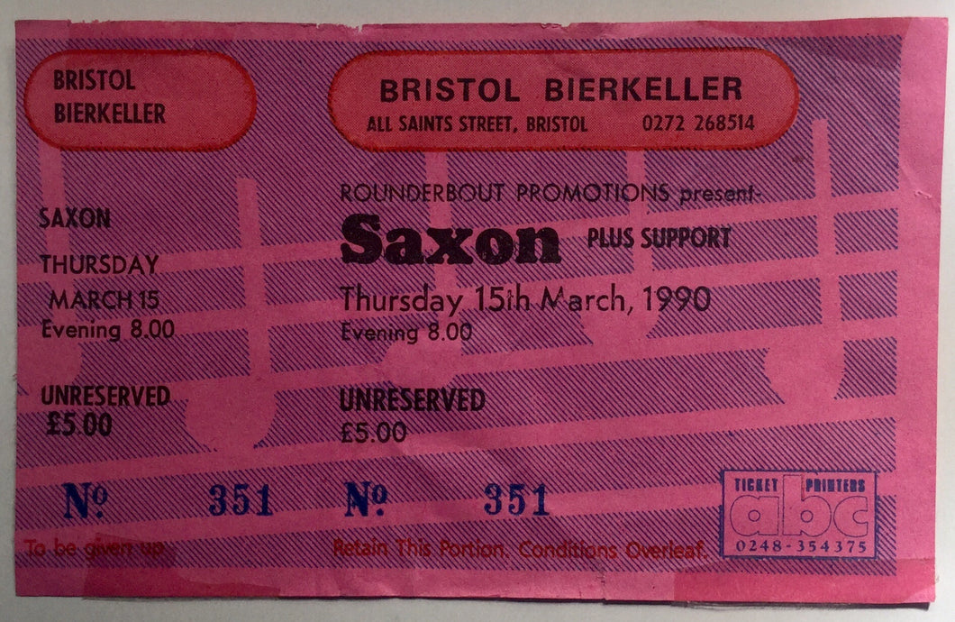 Saxon Original Unused Concert Ticket Bristol Bierkeller 15th Mar 1990