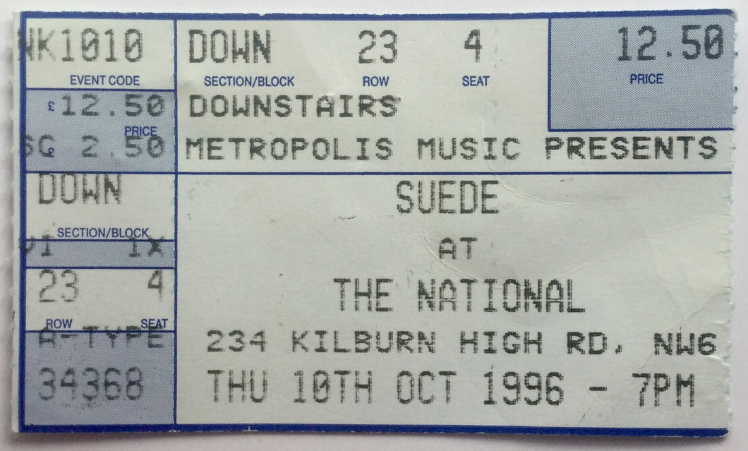 Suede Original Used Concert Ticket The National Kilburn 10th Oct 1996