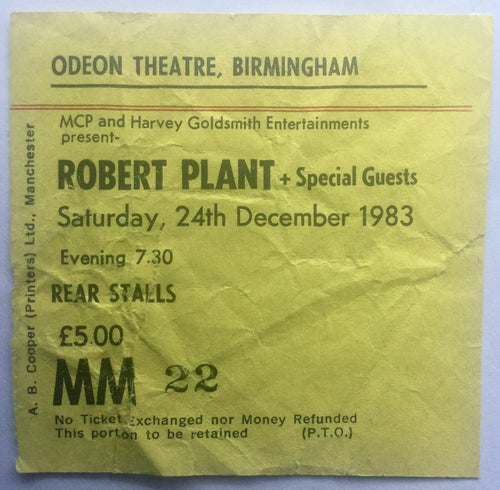 Led Zeppelin Robert Plant Original Used Concert Ticket Odeon Theatre Birmingham 24th Dec 1983