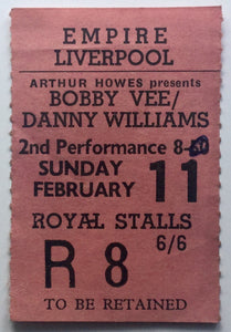 Bobby Vee Tony Orlando Springfields Original Concert Ticket Empire Theatre Liverpool 11th Feb 1962