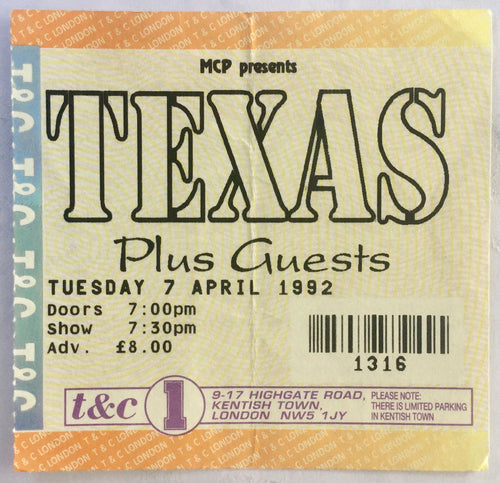 Texas Original Used Concert Ticket Town & Country Club London 7th April 1992