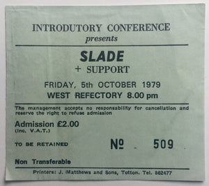 Slade Original Used Concert Ticket Southampton University 5th Oct 1979