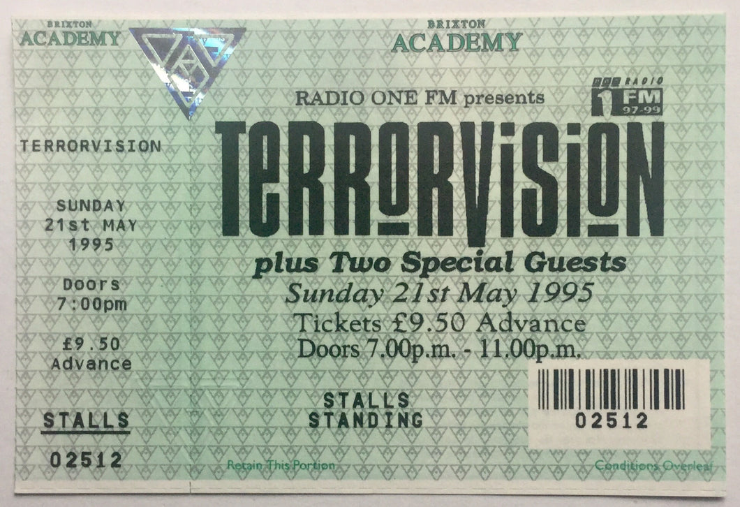Terrorvision Original Unused Concert Ticket Brixton Academy London21st May 1995