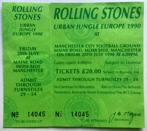 Rolling Stones Original Unused Concert Ticket Manchester City Football Ground 1990