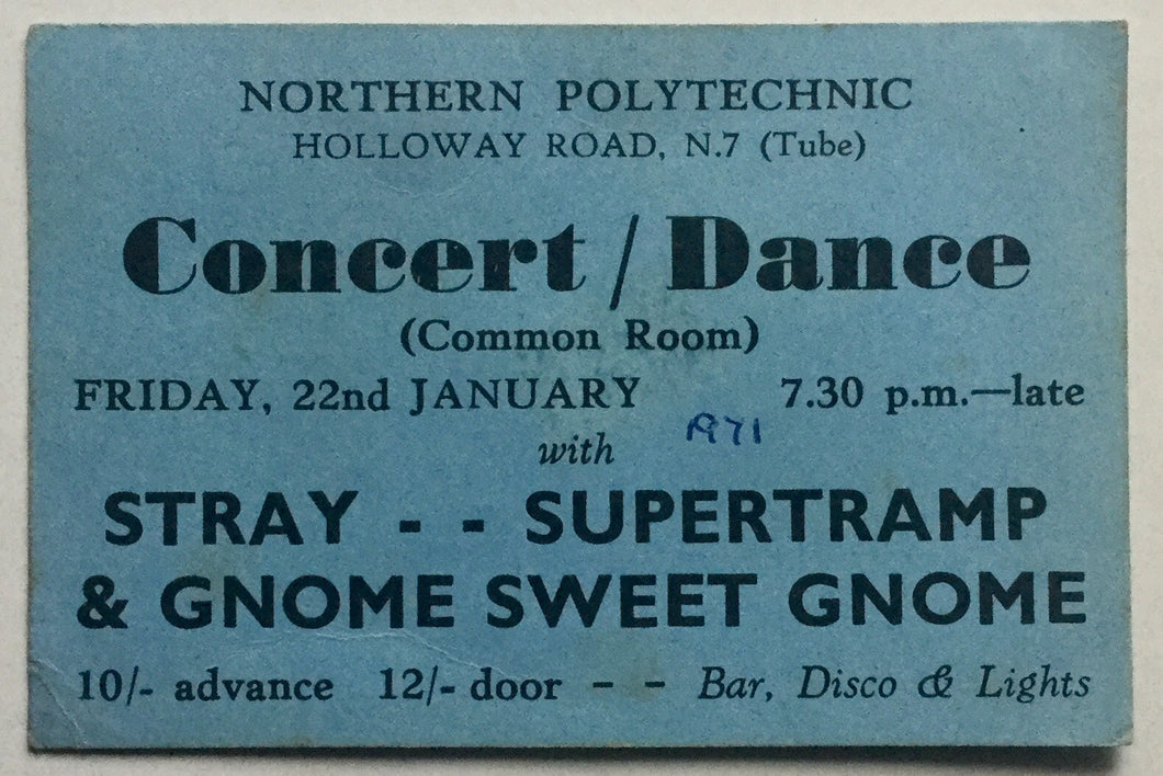 Supertramp Rare Early Original Concert Ticket Northern Polytechnic London 22nd Jan 1971