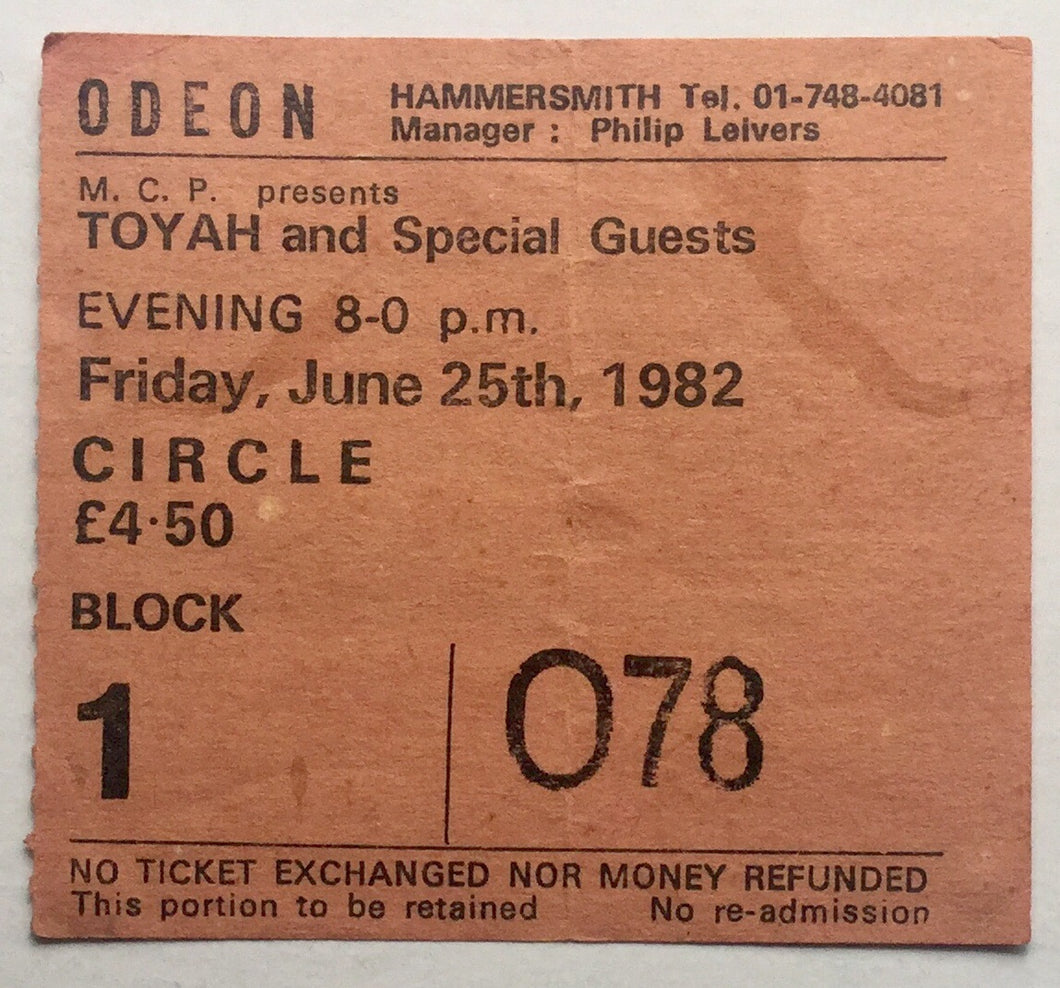 Toyah Original Used Concert Ticket Hammersmith Odeon London 25th June 1982