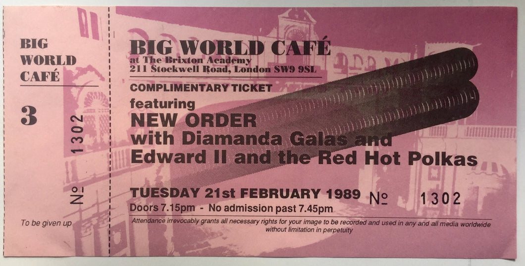 Joy Division New Order Original Unused Concert Ticket Brixton Academy London 21st Feb 1989