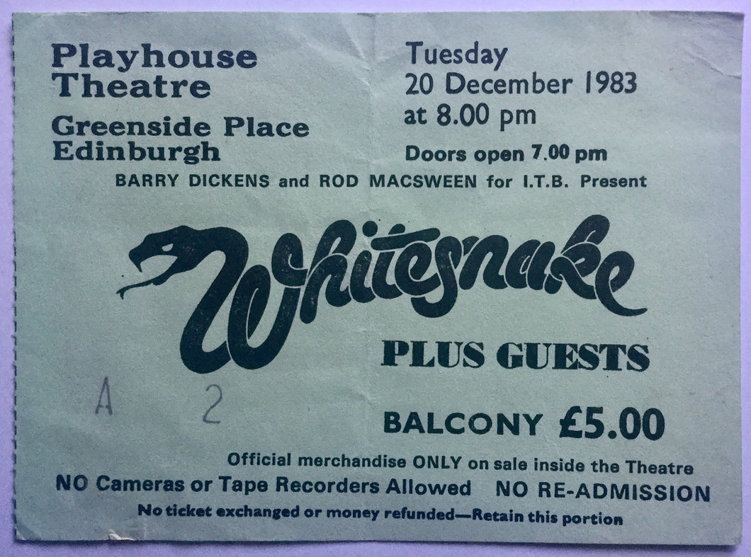 Whitesnake Original Used Concert Ticket Playhouse Theatre Edinburgh 20th Dec 1983