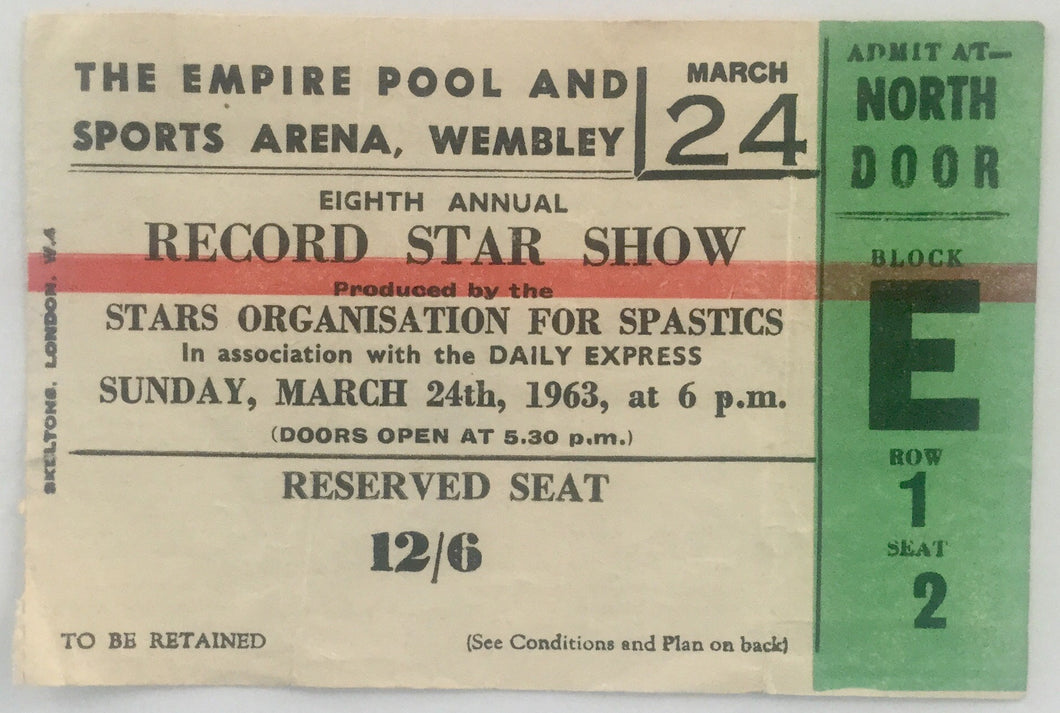 Helen Shapiro Adam Faith Marty Wilde Used Concert Ticket Wembley Arena London 24th Mar 1963