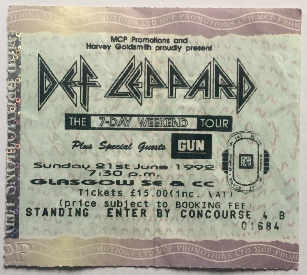 Def Leppard Original Used Concert Ticket SECC Glasgow 21st Jun 1992