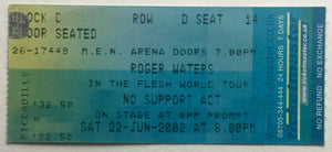 Pink Floyd Roger Waters Original Used Concert Ticket MEN Arena Manchester 22nd Jun 2002