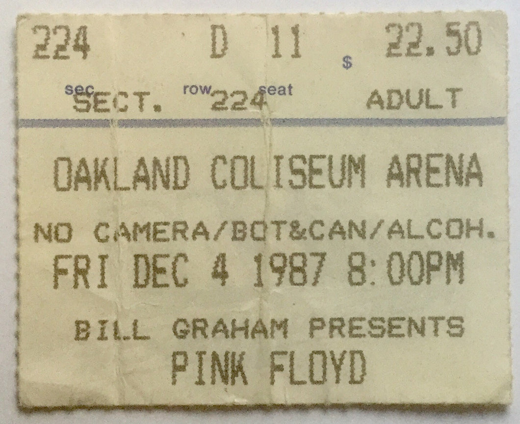 Pink Floyd Used Concert Ticket Oakland Coliseum Arena 4th Dec 1987
