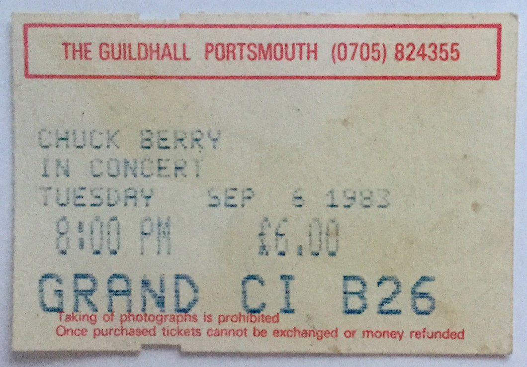 Chuck Berry Original Used Concert Ticket The Guildhall Portsmouth 6th Sept 1983
