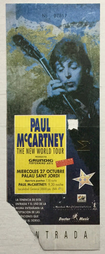 Beatles Paul McCartney Used Concert Ticket Barcelona 27 Oct 1993