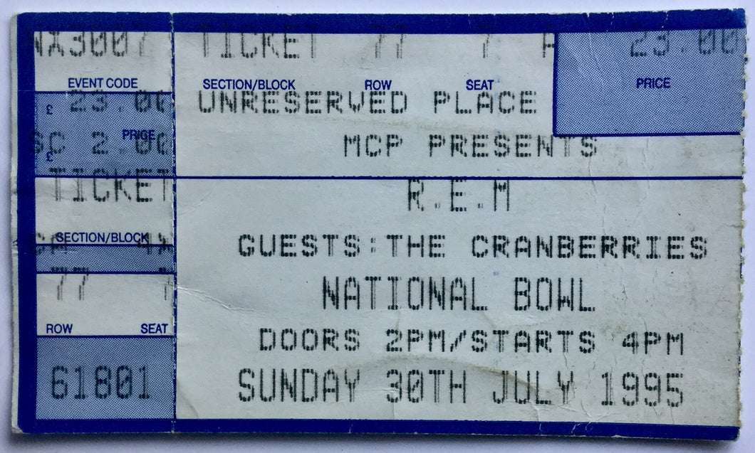 R.E.M. Cranberries Original Used Concert Ticket National Bowl Milton Keynes 30th July 1995