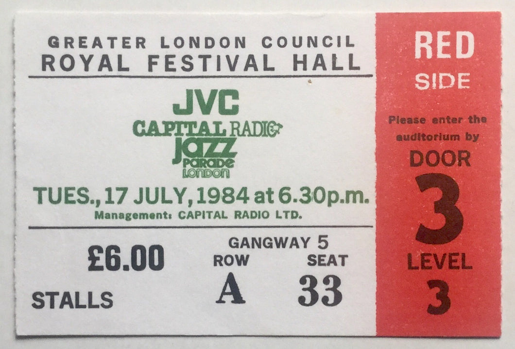 Miles Davis Original Used Concert Ticket Royal Festival Hall London 17th July 1984
