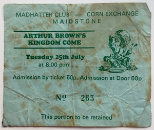Arthur Brown's Kingdom Come Original Used Concert Ticket Madhatter Club Maidstone 25th Jul 1972
