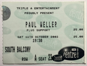 Paul Weller Original Used Concert Ticket Brighton Centre 12th October 2002