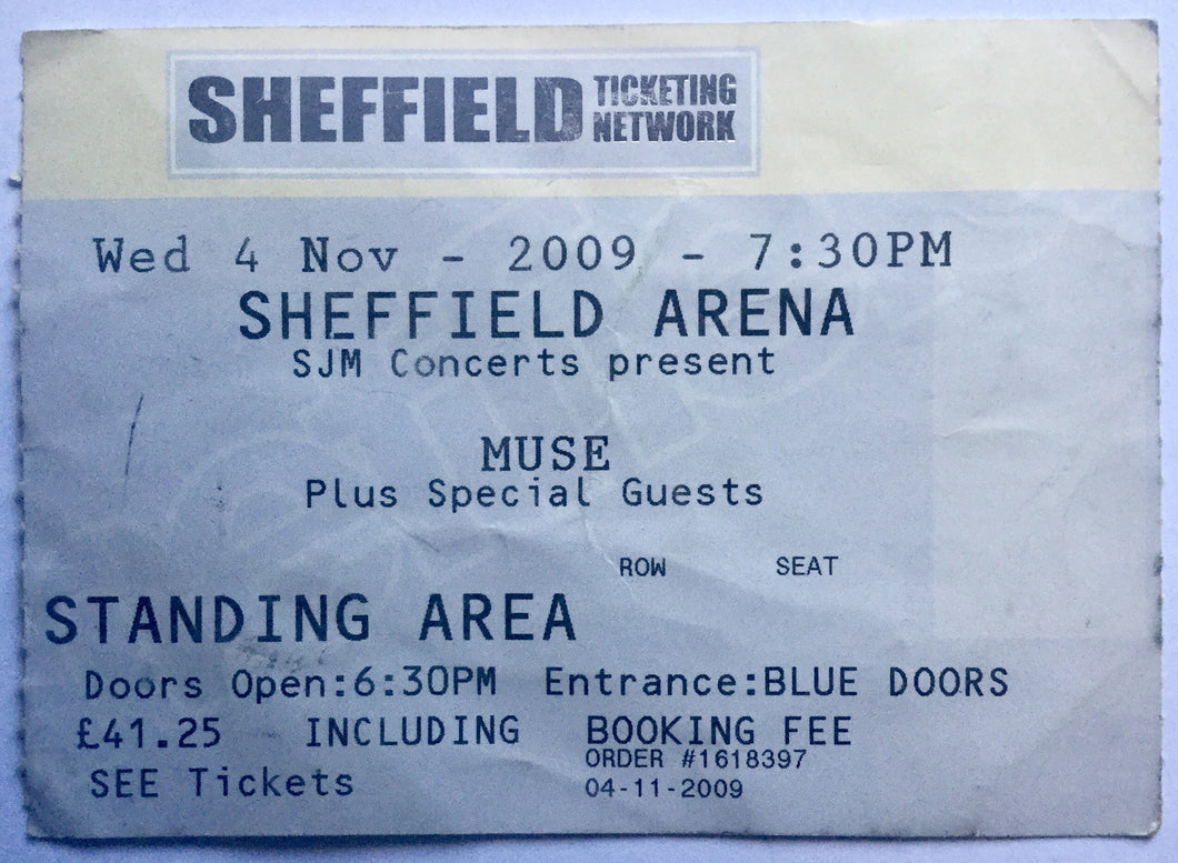 Muse Original Used Concert Ticket Sheffield Arena 4th Nov 2009