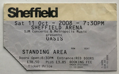 Oasis Original Used Concert Ticket Sheffield Arena 11th Oct 2008