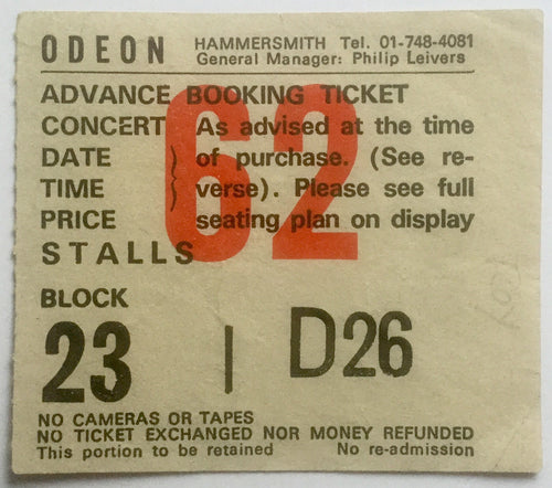 Stranglers Original Used Concert Ticket Hammersmith Odeon London 29th March 1987