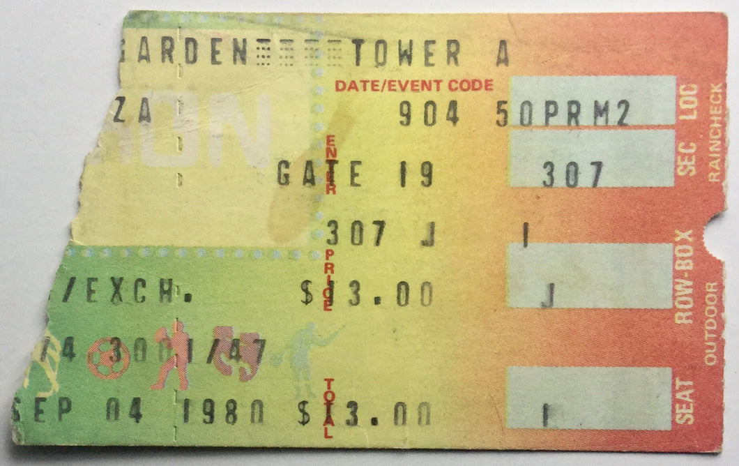 Yes Original Used Concert Ticket Madison Sqare Garden New York 4th Sept 1980