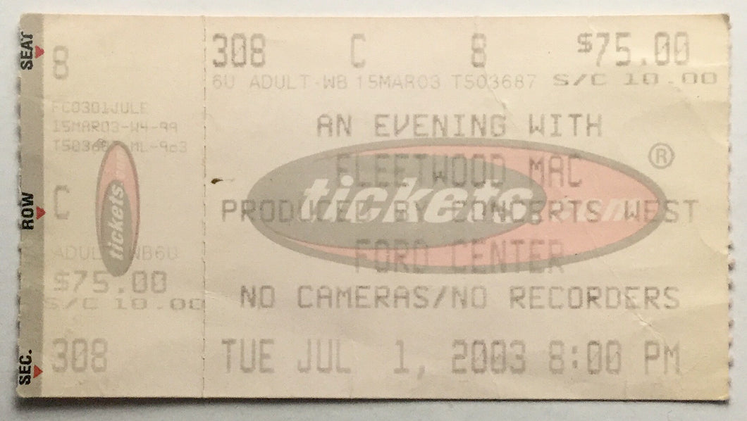 Fleetwood Mac Original Used Concert Ticket Ford Center Oklahoma City 1st Jun 2003