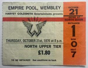 Beatles Paul McCartney Wings Original Used Concert Ticket Empire Pool Wembley London 21st Oct 1976