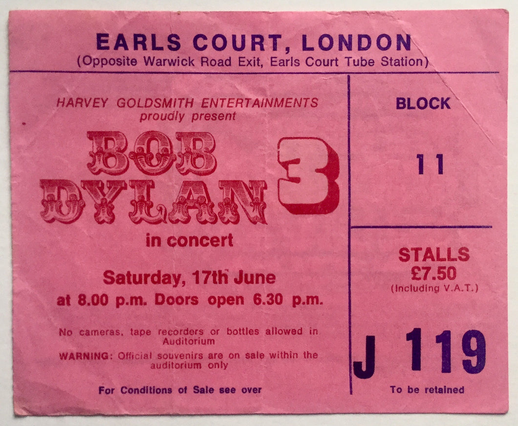 Bob Dylan Original Used Concert Ticket Earls Court London 17th June 1978