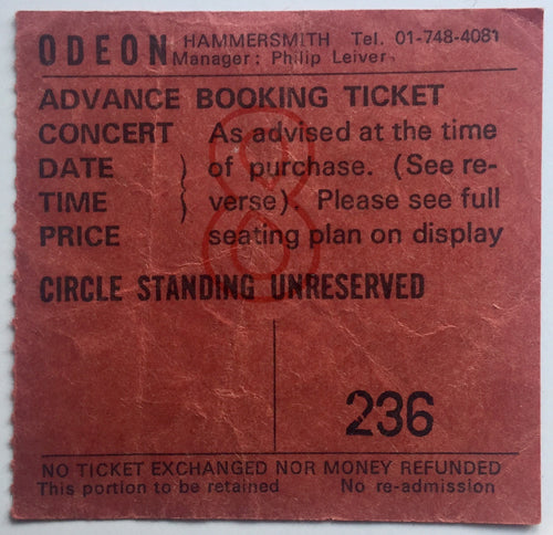 Jethro Tull Original Used Concert Ticket Hammersmith Odeon London 11th Feb 1977