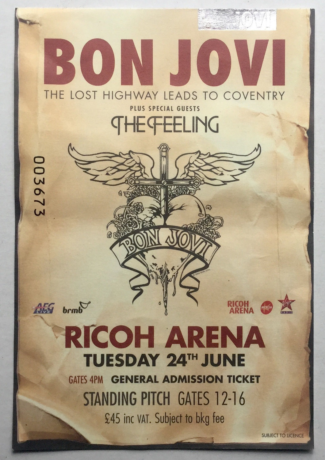 Bon Jovi Original Used Concert Ticket Ricoh Arena Coventry 24th June 2008