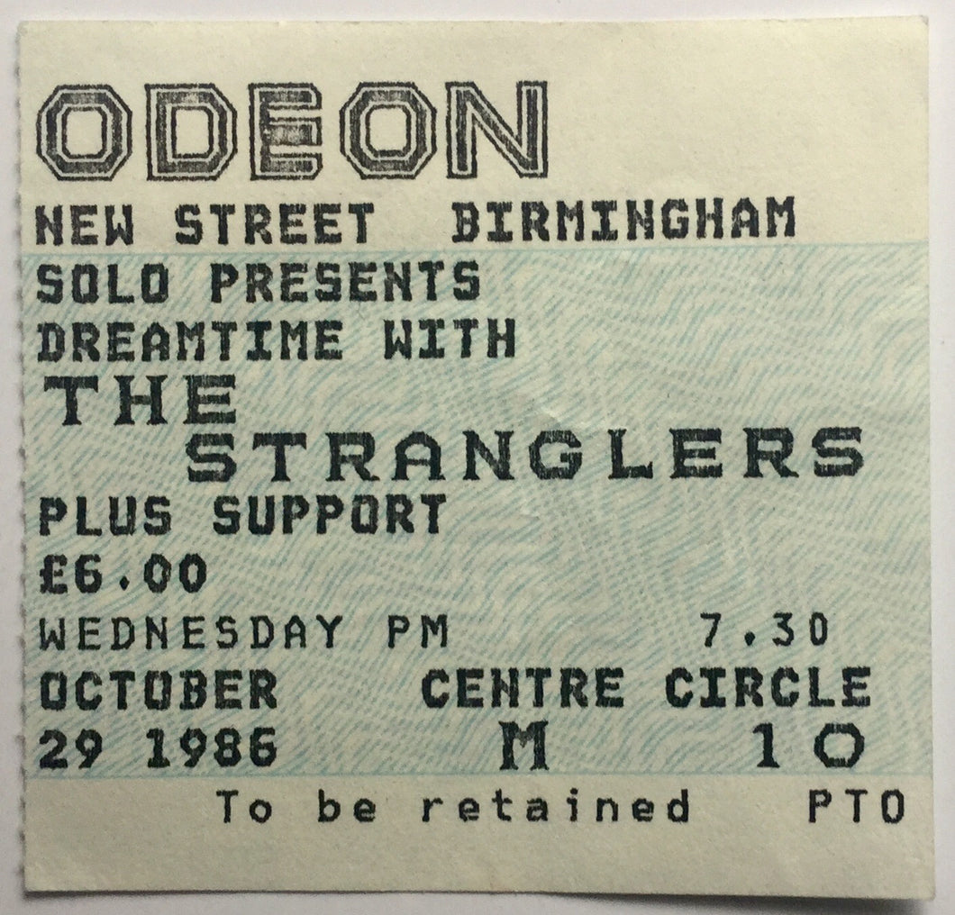 Stranglers Original Used Concert Ticket Odeon Theatre Birmingham 29th Oct 1986