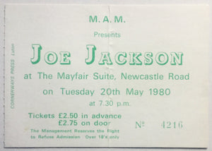 Joe Jackson Original Used Concert Ticket The Mayfair Suite Newcastle 20th May 1980