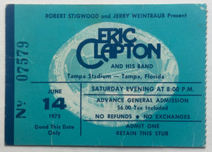 Cream Eric Clapton Original Used Concert Ticket Tampa Stadium 14th Jun 1975