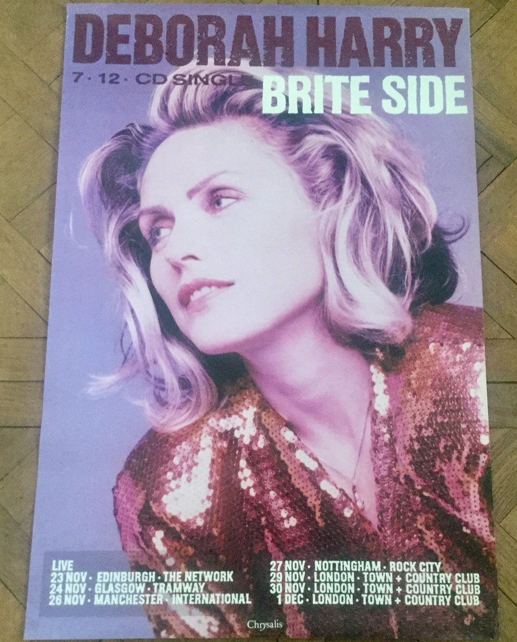 Deborah Harry Brite Side Original Promo Poster UK Concert Tour 1989