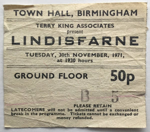 Lindisfarne Original Used Concert Ticket Town Hall Birmingham 30th Nov 1971