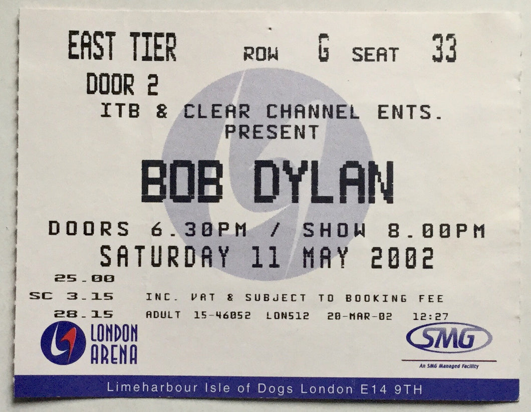 Bob Dylan Original Used Concert Ticket London Arena 11th May 2002