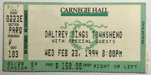 Who Roger Daltrey Original Used Concert Ticket  Carnegie Hall New York 23rd Feb 1994